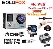 GOLDFOX 4K Wifi Action Camera 16MP 170D Sport DV 1080P Video Camera LCD Dual Screen Go Waterproof Pro cam Mini dvr + Remote