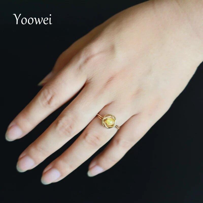 Yoowei 4 мм Янтарный Кольца для Для Женщин Специальный Потрясающие розы Кольца ручной шикарный лакомство из натуральной янтарные украшения ...