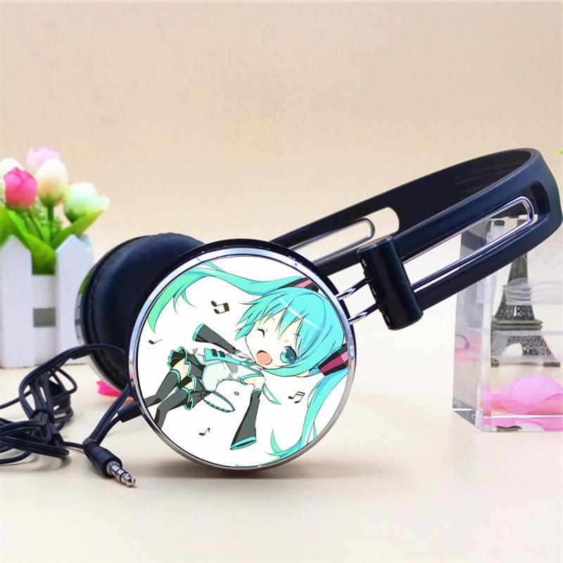 MLLSE Hatsune Miku Anime Headphone Headphones Gaming Headset Gamer Stereo Headphones for Girls for Mobile Phone Mp3 Player PC