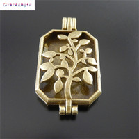 GraceAngie 2pcsTopPlate Fragrance Essential Oil Aromatherapy Diffuser Perfume Women Hollow Tree Leaf Locket Charms Pendant