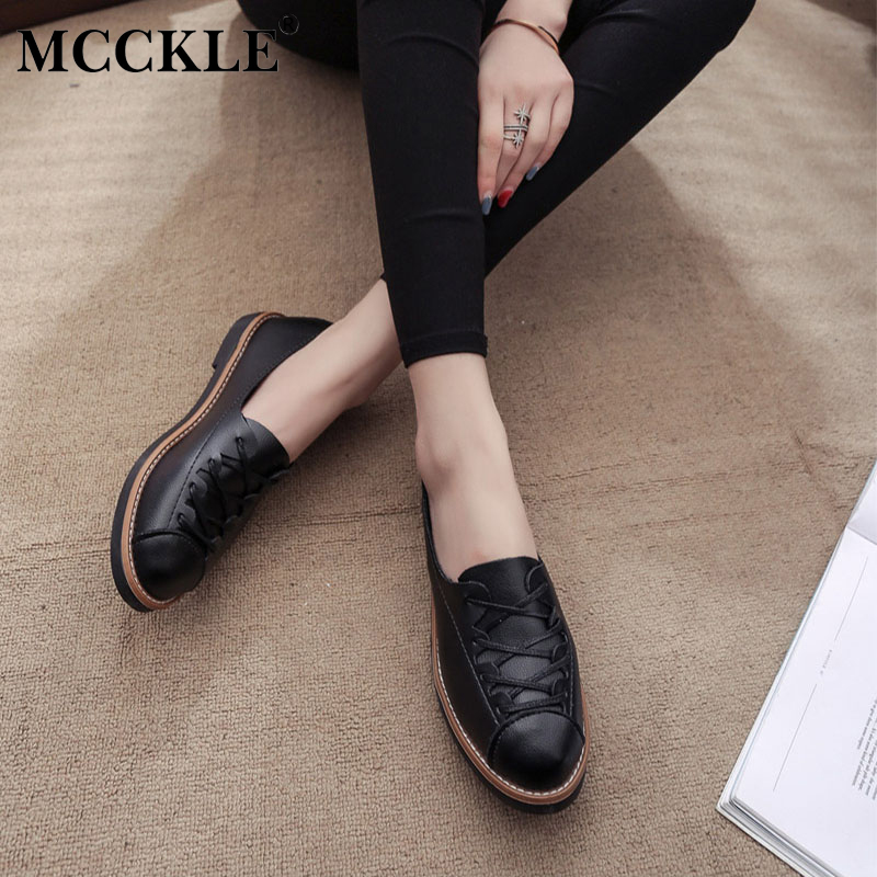 MCCKLE Female Lace Up Casual Autumn Sewing White Style Office Platform Low Heels 2017 Women's Fashion Black Comfortable Shoes mcckle 2017 fashion woman shoes flat women platform round toe lace up ladies office black casual comfortable spring