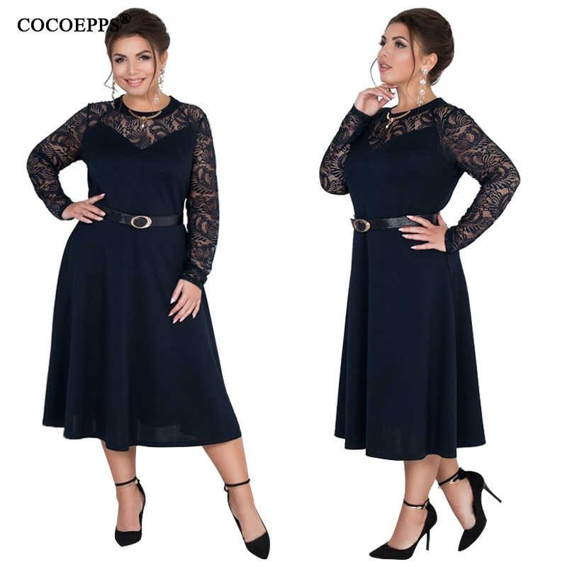 COCOEPPS 2019 de talla grande moda mujer vestido de verano malla de gran tamaño ropa de mujer Casual fiesta de gran tamaño vestido azul oscuro 5XL