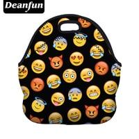 Deanfun Portable Lunch Bag Of Meals 3D Printed 2017 Hot Sale Emoji Pattern Neoprene Waterproof For