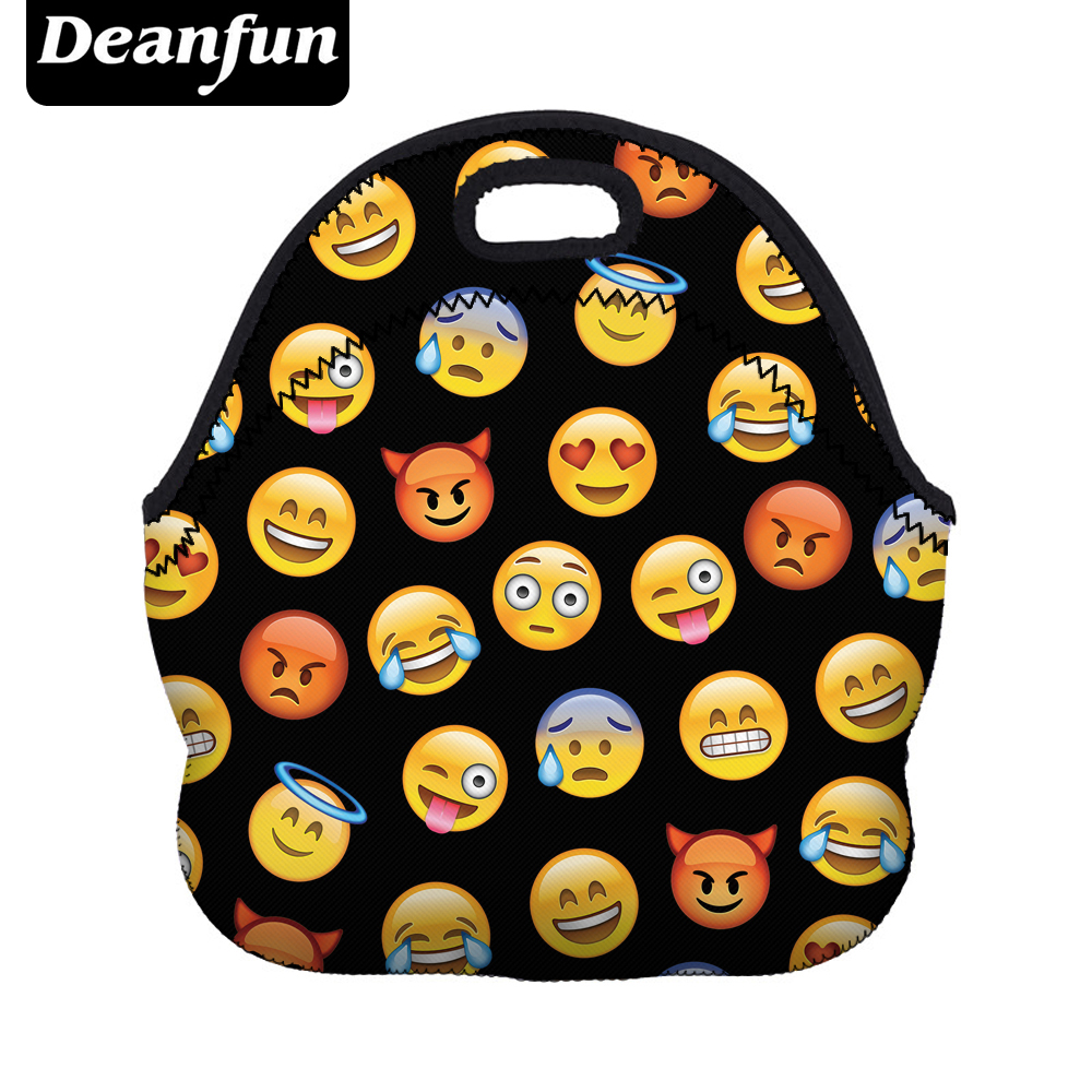 Deanfun Portable Lunch Bag of meals 3D Printed Hot Sale Emoji Pattern Neoprene Waterproof for women 50817 hot sale ethnic floral pattern pashmina for women
