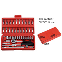 Hot 46pcs Car Repair Tool Set 1/4 Inch Socket Set Car Repair Ratchet Torque Wrench Combo Tools Kit BX