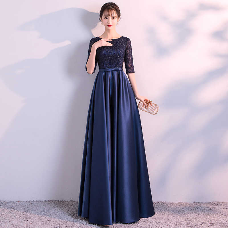 a34722eabdcf4 ... Navy Blue Evening Dresses Long Elegant Simple Formal Dress Plus Size  Satin Evening Gown With Lace ...
