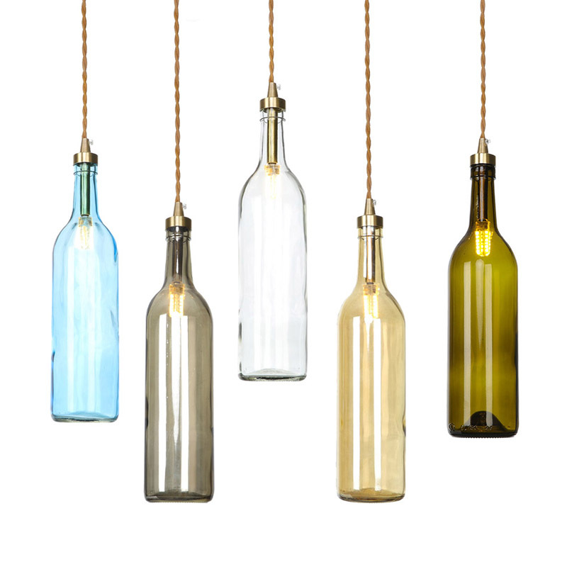 Beer Bottle Pendent Light Industrial Creative Cafe Bar Retro Lamp Living Room Lampshade Glass Vintage Loft Lampe Lustre Pendants
