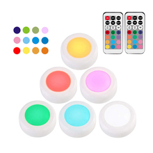 RGB 12 Colors Dimmable led Under Cabinet Light Touch Sensor LED Puck Closet Cupboard Showcase Drawer Wardrobe Indoor