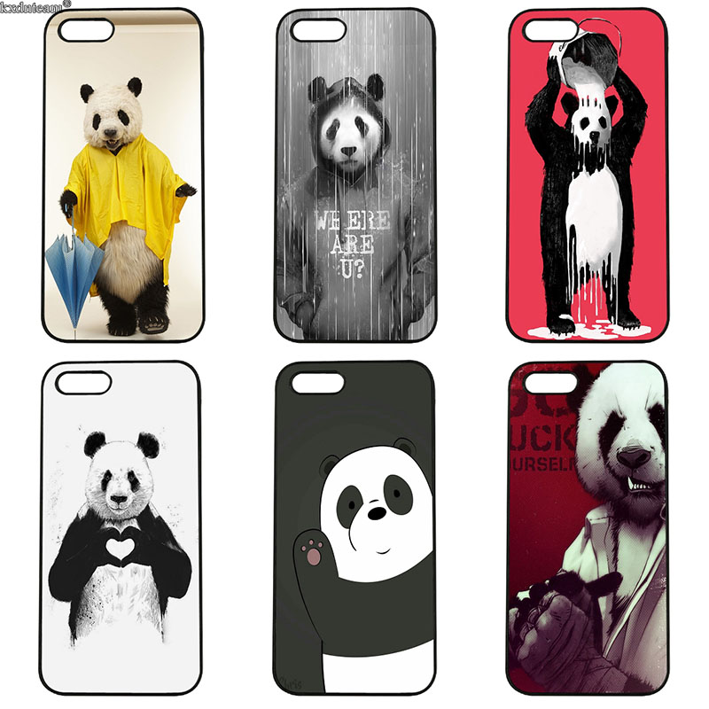 Hard PC Cute Cartoon Animal Panda Cover Cell Phone Cases for iphone 8 7 6 6S Plus X 5S 5C 5 SE 4 4S iPod Touch 4 5 6 Shell