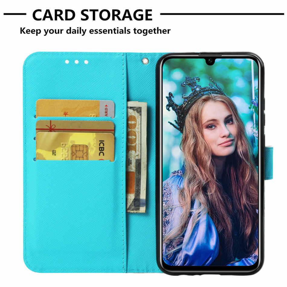 Capa de luxo para huawei enjoy 9s 7s, 7 p smart y6 y9 2019 2018 mate 20 pro p20 p30 lite capas para carteira pintadas, para cartão slot p03e