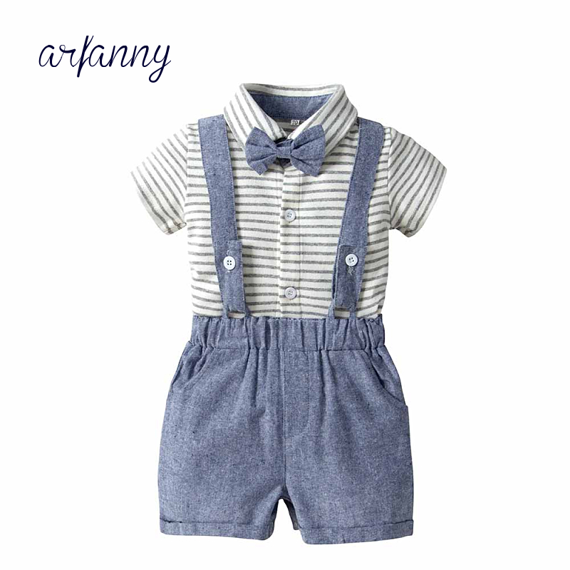 Boutiqu newborn clothing set bebes Baby Boy Clothes Boys gentleman suit children 39 s bow T shirt work wear 2 pieces in Clothing Sets from Mother amp Kids