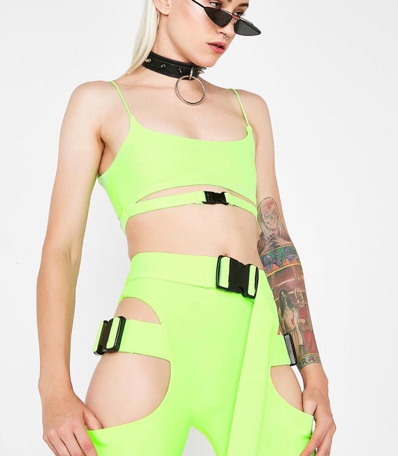 ab220cdd1ad Beyprern Hot Girl Cut Out Neon Green Buckle Shorts Set Women Tight ...