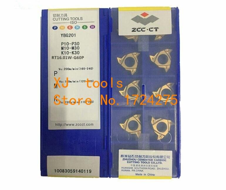 10 PCS RT16 01W G60P YBG201 RT16 01W G55P YBG201 External Tungsten Carbide Threading Lathe Inserts