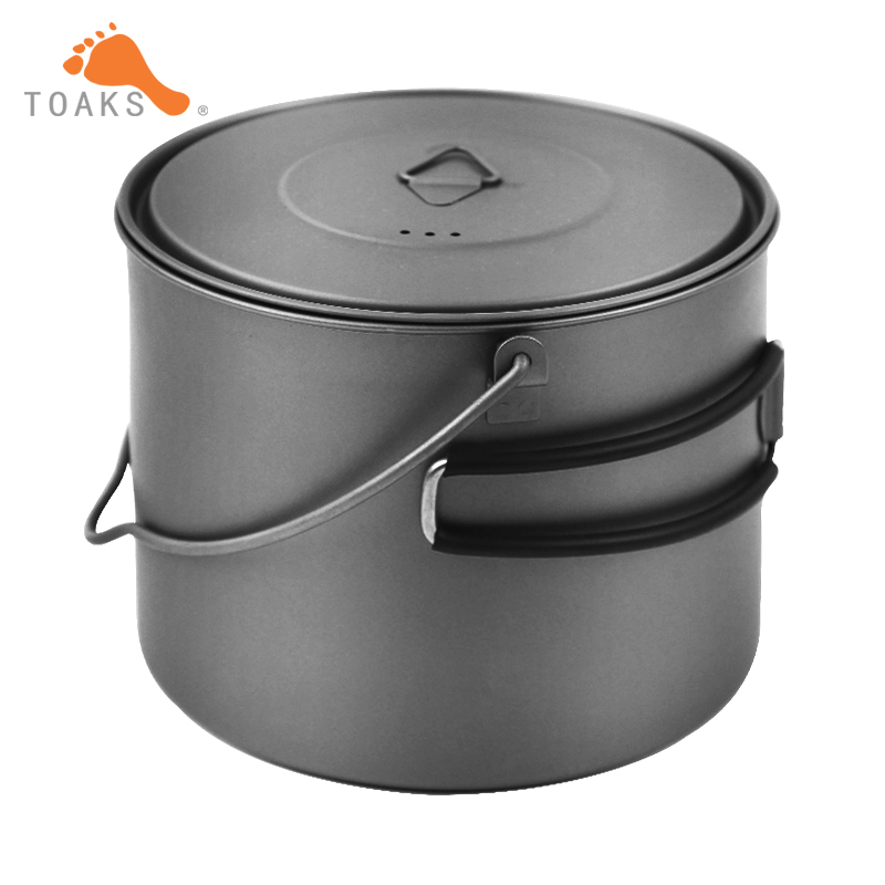 TOAKS 1300ml Titanium Cup With Cover And Hanging Pot Foldable Handle Ultralight Titanium Pot Outdoor Cookware
