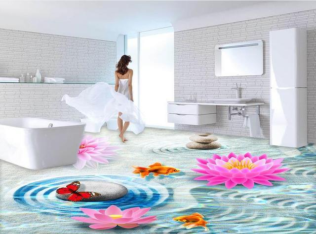 Custom behang voor floor goudvis lotus 3d kamer behang landschap pvc