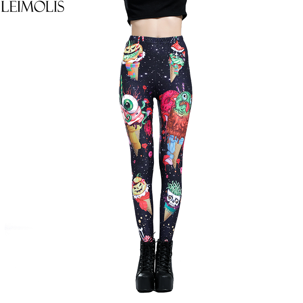 LEIMOLIS 3D Print Ice Cream Monster Black Gothic Harajuku Sexy Plus Size High Waist Push Up Fitness Workout Leggings Women Pants