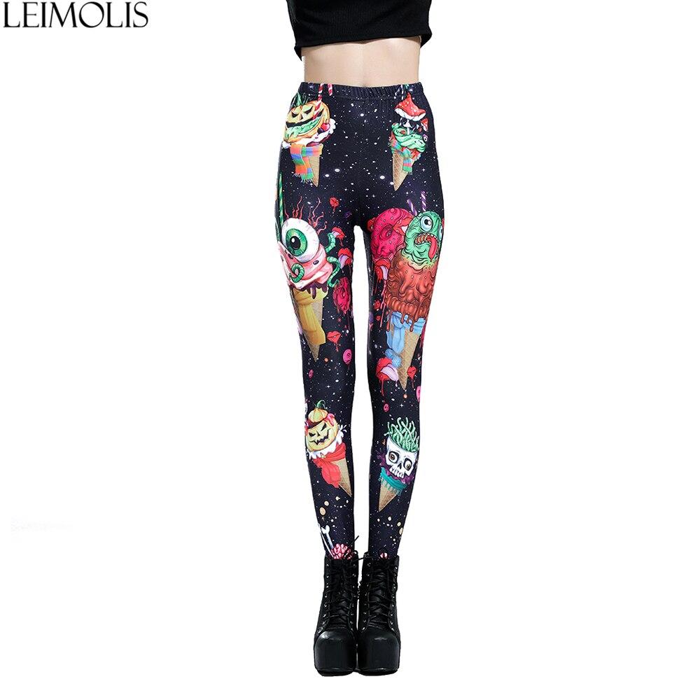 LEIMOLIS 3D Print Ice Cream Monster Black Gothic Harajuku Sexy Plus Size High Waist Push Up Fitness Workout Leggings Women Pants