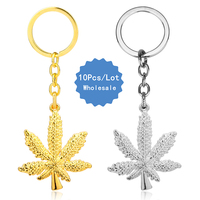 10 Pcs A Lot New Fashion Iced Out Weed HipHop Pendant Keychain Maple Leaf Pendant Chains