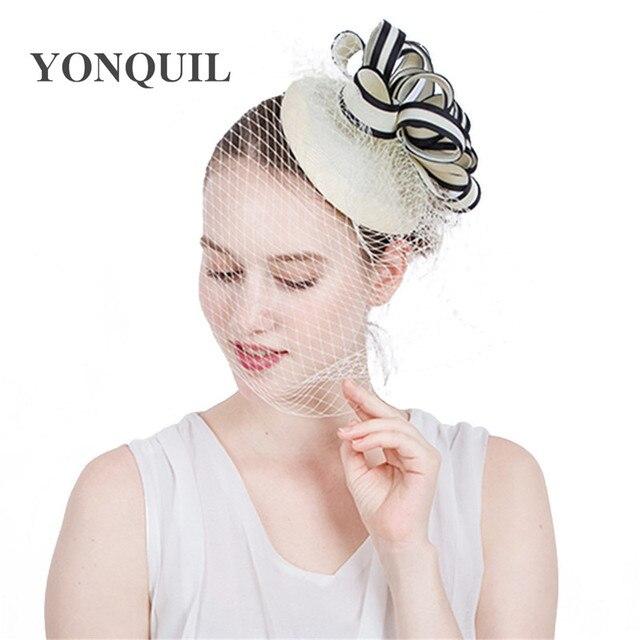 Ladies fancy races wedding hats fascinators bridal headwear with veilling  party tocados sombreros bodas imitation sinamay hats 9e0bfbc4e48
