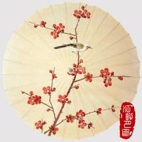 JIANGPANYUE Handmade Plum Oiled Paper Umbrella Bamboo Wooden Rain Umbrella Women Classical Japanese Chinese Style Guarda Chuva