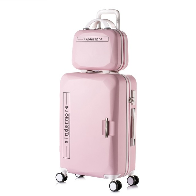 14 cosmetic bag 2pcs sets kids travel suitcase with wheels trolley case rolling pink luggage set. Black Bedroom Furniture Sets. Home Design Ideas