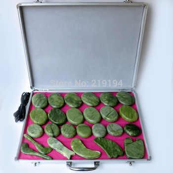 Best selling! 29pcs/set body Massage stones massage stone set hot stone jade massage plate with heater box