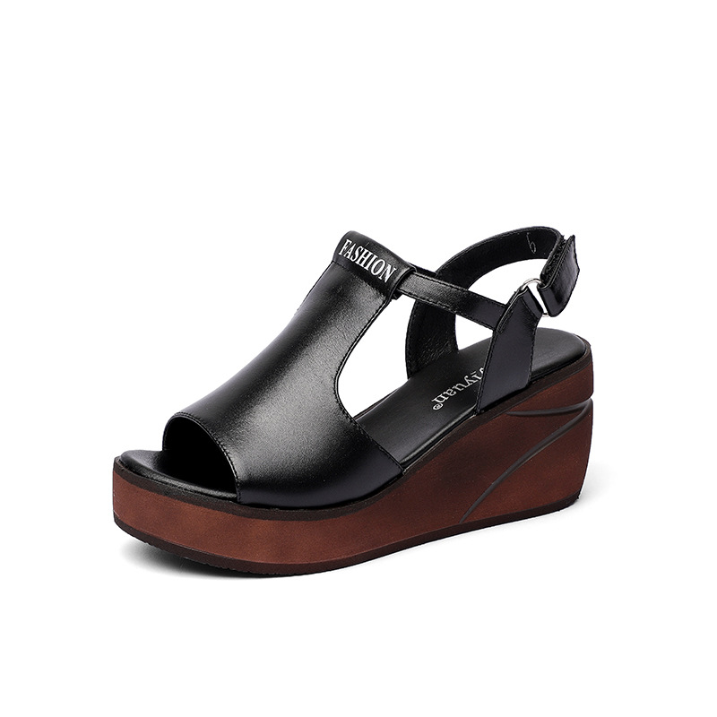 2018 new sandals, womens summer skin, casual slope and waterproof table, high and thick womens shoes, black and white.