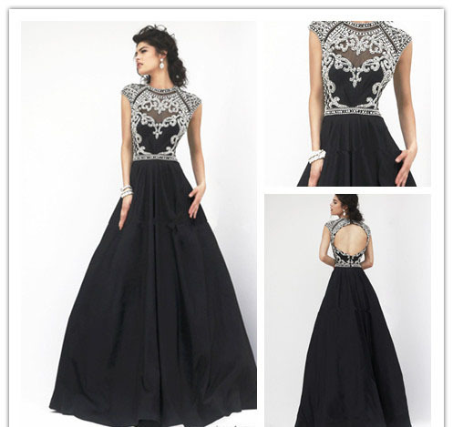 2014 Fashion Taffeta Short Sleeve Prom Dress High Neck Elegant ...