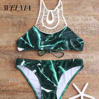 WEIXIA 2018 Sexy High Neck Bikini Swimwear 1729 Women Swimsuit Brazilian Bikini Set Green Print Halter