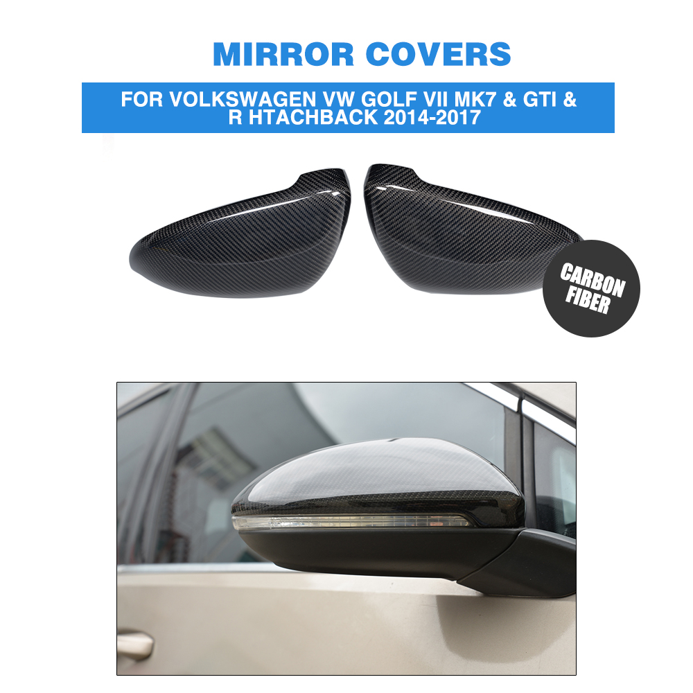2PCS/Set Carbon Fiber  Rearview Mirror Covers Fit For VW Golf 7 VII MK7 2014-2016 Side Wing Mirror Caps Car Styling