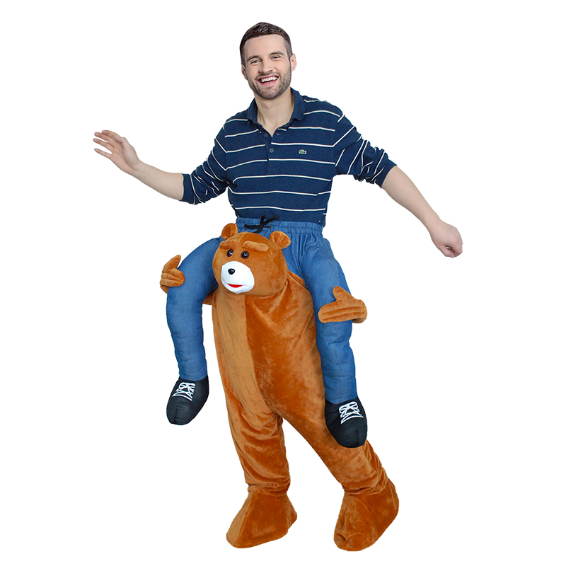 Halloween Costumes Funny Fancy Dress Bear Mascot Costume Pants Carnival Cosplay With False Human Legs