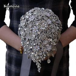 Kyunovia Cascading Teardrop Bouquet Silver Brooch Bouquet Wedding Accessories Jewelry Bouquet Crystal Cascade Bouquet FE69