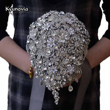 Kyunovia Cascading Teardrop Bouquet Silver Brooch Bouquet Wedding Accessories Jewelry Bouquet Crystal Cascade Bouquet FE69 - DISCOUNT ITEM  5% OFF All Category