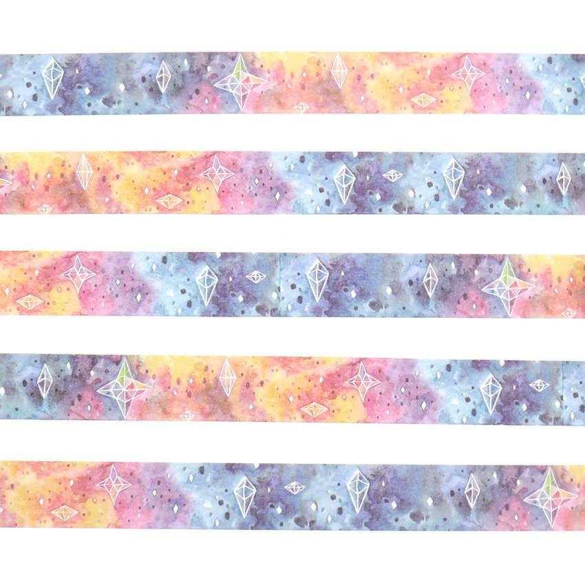 15mm * 10m caja paquete hermoso cielo estrellado Washi Tape excelente calidad colorido papel enmascarar cinta DIY cintas decorativas
