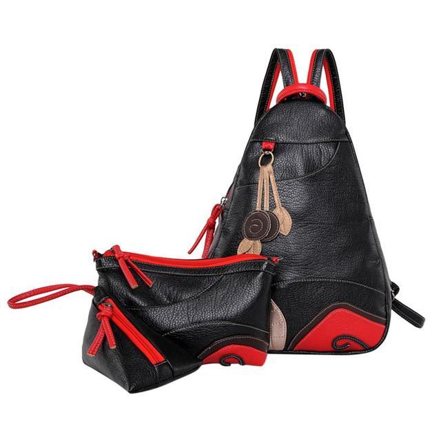 5defbed37d0d Women Backpack Fashion Vintage Leaf Shoulder Bag Backpack 3 sets  Multifunction Chest Lady Leather Backpacks Designers