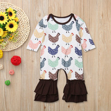 a15973d8d6b Infant Baby Girls Long Sleeve Cock Chicken Print Flares Jumpsuit Romper  Clothes New Year s costumes for