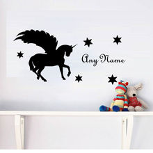 Custom Name Wall Sticker Unicorn Decal Horse With Wings Art Mural For Kids Rooms Removable Vinyl Silhouette Wall Decals ZA583