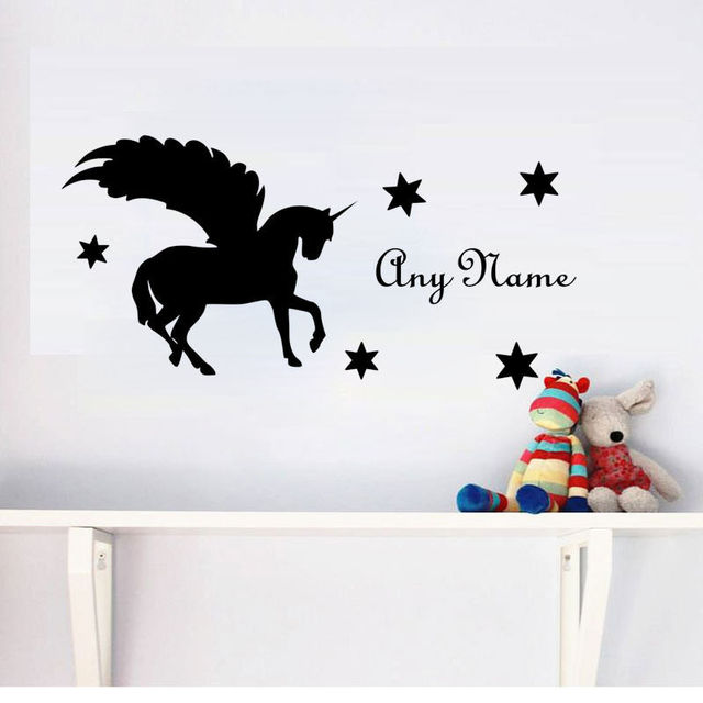 Custom Name Wall Sticker Unicorn Decal Horse With Wings Art Mural For Kids Rooms Removable Vinyl