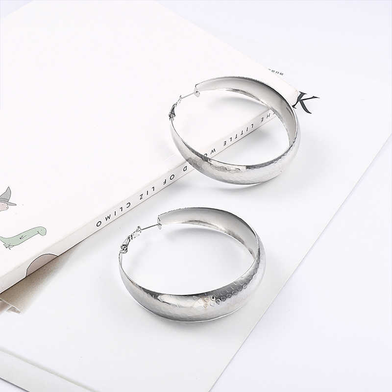 c069380ed ... RIR Big Large Oversized African thick Round Shaped Silver Stainless  Steel Hoop Earrings For Women ...