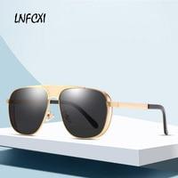 LNFCXI Vintage Polarized Sunglasses Men 2019 New Metal Frame Classic Square Ultra-light Sun Glasses Men