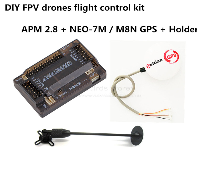 DIY FPV drone flight control kit APM 2.8 flight control + Beitian NEO-7M / NEO-M8N GPS + holder kit for quadcopter / hexacopter drone upgraded apm2 6 mini apm pro flight controller neo 7n 7n gps power module