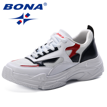 BONA Woman Casual Shoes Breathable 2019 Sneakers Women New Arrivals Fashion Mesh Sneakers Shoes Women Shallow Low Comfort Shoes 2020 fashion woman casual running flat shoes breathable sneakers sport women new arrivals fashion mesh sneakers flat shoes women