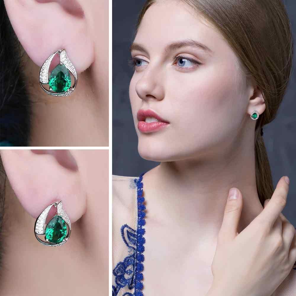 JPalace สร้าง Nano Emerald Hoop ต่างหู 925 เงินสเตอร์ลิงต่างหูอัญมณีเกาหลีต่างหูแฟชั่นเครื่องประดับ 2019