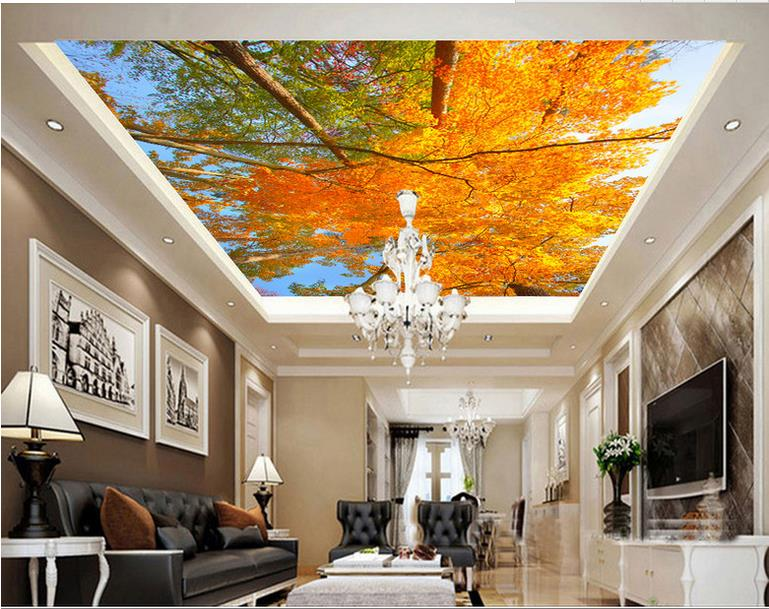 custom 3d ceiling wallpaper Autumn landscape trees 3d ceiling luxury wallpapers for living room 3d ceiling landscape custom 3d stereo ceiling mural wallpaper beautiful starry sky landscape fresco hotel living room ceiling wallpaper home decor 3d
