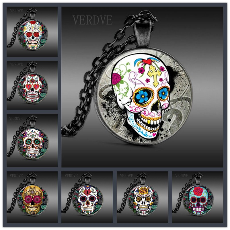 VERDVE 8Stys Gothic Vintage Mens Skull Pendant Glass Dome Anatomy Steampunk Necklace For Men Jewelry Collar Hombre