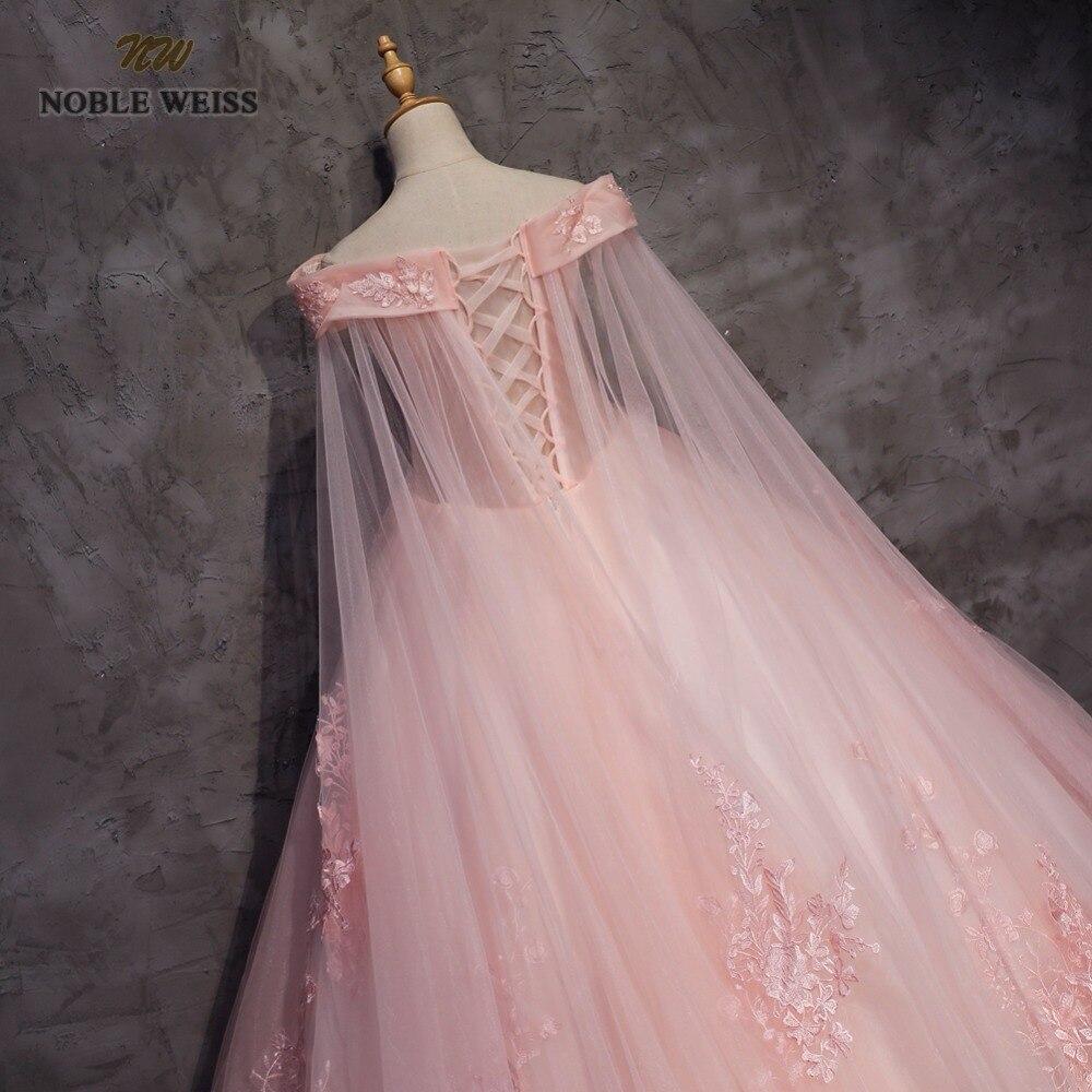NOBLE WEISS robe de bal Quinceanera robes de haute qualité Appliques perles longueur plancher rose Tulle Sexy formelle robe de bal - 5
