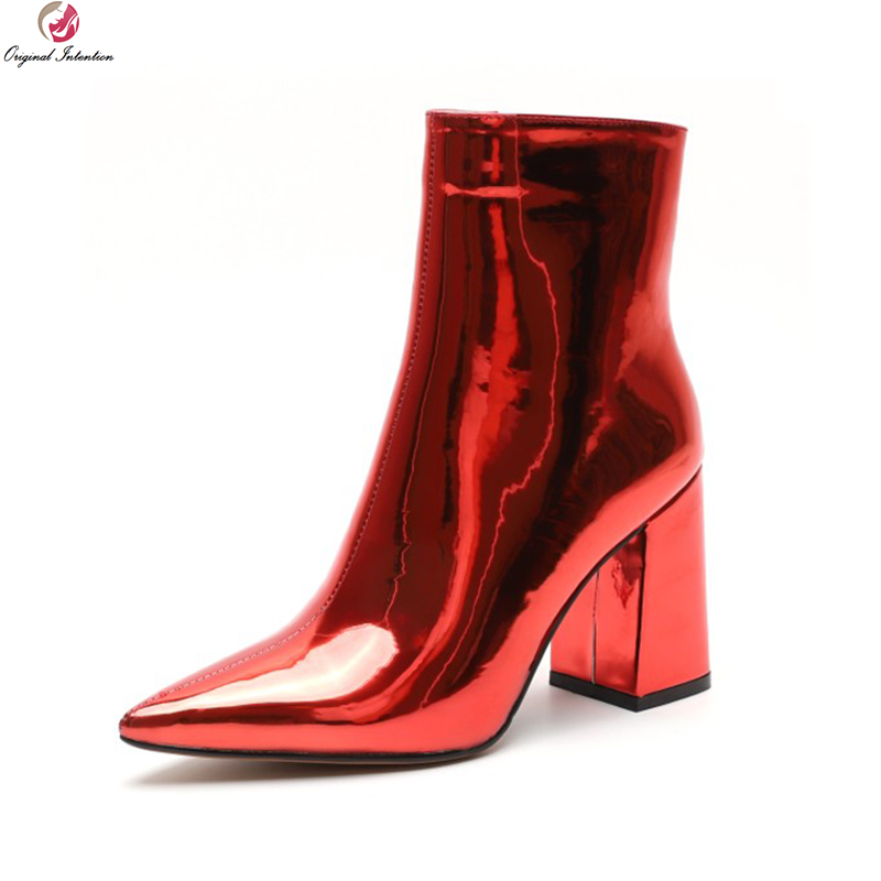 Original Intention New Elegant Women Ankle Boots Pointed Toe Square Heels Black Red Leopard Snake Silver Shoes Woman Size 4-8.5 стоимость