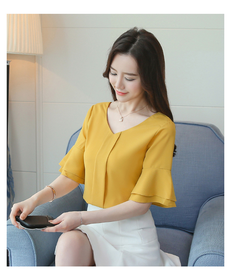 Summer Short Flare Sleeve Chiffon Ladies Casual Lady's Top