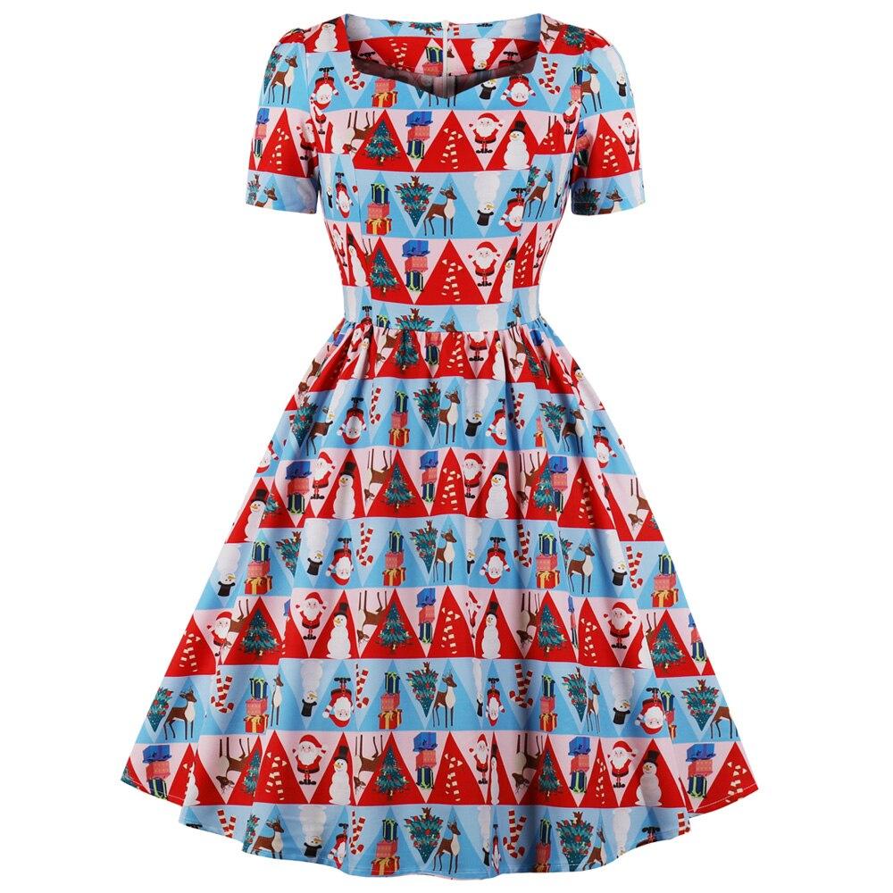 c5177a8873dcb Detail Feedback Questions about Kenancy Sweetheart Neck Short Sleeve Women  Party Dresses Plus Size Christmas Print Vintage Dress Retro Rockabilly  Vestidos ...