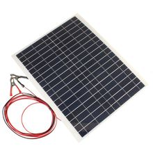 LEORY Hot 20W 12V PolyCrystalline Epoxy Cells Solar Panel DIY Solar Module Battery Power Charger+2x Alligator Clips+4m Cable